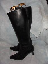 CAREL Noir Femme Cuir Zip Genou Haut Bottes Taille UK 6 EU 39 VCG