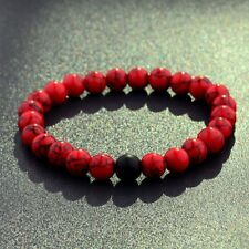 Natural Red Agate & Black Matte Onyx Bead Distance Valentines Gift For Women Men