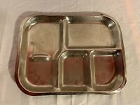 "VINTAGE MILITARY PRISON ALL STEEL METAL FIVE COMPARTMENT DINNER PLATE 15""X12"""