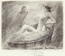 Bernd HIEKE Exlibris Schult Erotic Nude in Bath Copper Engraving C2 1993 signed