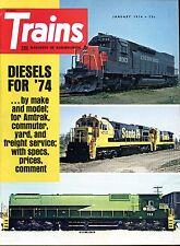 Trains Magazine January 1974 Diesels for '74..by make with specs,prices,comment