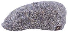 STETSON Bakerboy Cap Hat Hatteras Donegal Beige Blue 427 Virgin Wool New