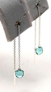 Sterling Silver Blue Topaz color Threader Earrings Dainty