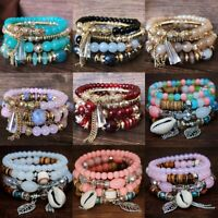 4pcs/set Boho Fashion Crystal Multilayer Beaded Bracelet Stretch Women Jewelry