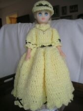 "Vintage Doll 15"" Hard Plastic Eyes Close Crocheted Yellow Dress w/Pink Slip"
