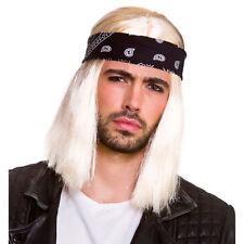 90s Rocker Wig Blonde Mens Fancy Dress Costume Wig + Bandana Blonde New