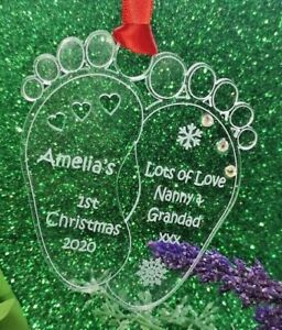 Personalised Baby Feet 1st Christmas Gift /  Decoration with diamante detail