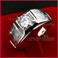 18K WHITE GOLD GF SILVER MENS SOLID 1.5CT LAB DIAMOND WEDDING ETERNITY BAND RING