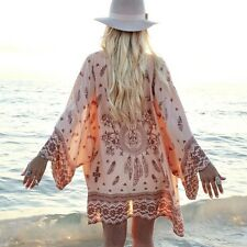 Boho Women Chiffon Floral Kimono Coat Cardigan Loose Beach Cover Up Blouse Tops
