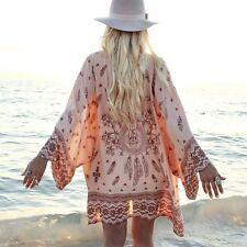 Boho Womens Chiffon Floral Kimono Coat Cardigan Loose Beach Cover Up Blouse Top