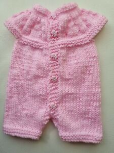 Hand knitted Dolls baby born romper  suit pink  New