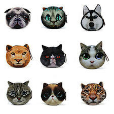 Cute 3D Cat Dog Face Zipper Case Coin Kids Purse Wallet Makeup Bag Pouch 12*11cm