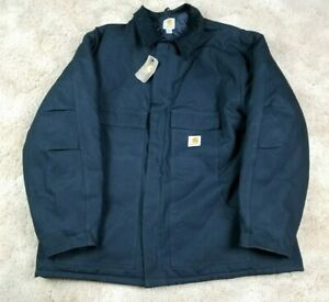 NEW Carhartt Men's Canvas Quilted Lined Heavy Black Chore Jacket 3XL