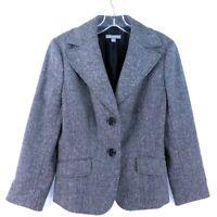 Ann Taylor Size 8 Gray Wool Blend 2 Button Stretch Career Blazer Jacket Coat