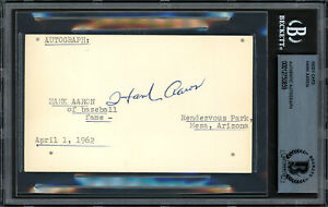 Hank Aaron Autographed Signed in 1962 3x5 Index Card Braves Beckett 12750859