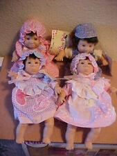 """Lot of 4 GI-GO Expressions Dolls Baby 8"""" PALM PALS BEAN BAG Funny Faces Tagged"""