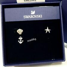 Swarovski Ocean Pierced Earrings Set, Shell Starfish Anchor Crystal MIB 5462582