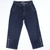 NYDJ Womens Size 2 Stretch Crop Capri Dark Blue Denim Studded Jeans Hem Mid Rise