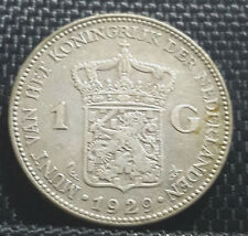 1929 Nederland 1Gulden Silver coin,Dia 28mm VF (plus FREE 1 coin) #D2530