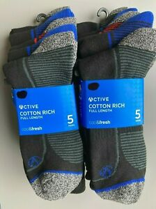 M&S Men's Socks 10 PAIRS Active wear Walking Hiking Cotton Rich Calf Socks