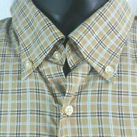 Peter Millar Mens Medium Dress Shirt  Long Sleeve Button Front Brown Cotton