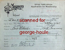 JACK BENNY - MASQUERS APPLICATION - SIGNED - 1929 - MARY LIVINGSTONE - VIOLIN