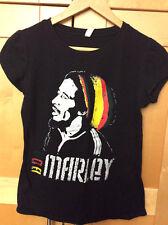 Reserved BOB MARLEY Reggae Rastafari Women's Cotton Black Concert Rock T-shirt L