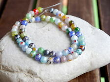 MILLEFIORI Glas Perlen 6 mm 1 Strang Blumen Murano Design Farb Mix