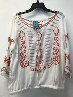 NWT JOHNNY WAS BUTTON DOWN EMBROIDERED TOP BLOUSE SHELL IVORY SZ XL