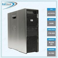 HP Z600 Professional Workstation PC Intel Xeon 24GB DDR3 CPU 1TB HDD Windows 10