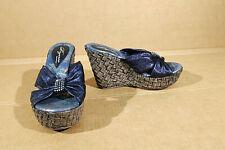 Women Dezario Metalic Navy Platform Wedge Slide Sandals Mules Size 36 / US 5
