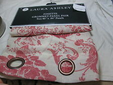 New Laura Ashley JOSETTE Semi-Sheer Grommet Window Panel Pair Two 40x84 - Berry