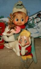 "Vintage Large 12 1/2"" Long Knee Hugger Pixie Elf Flocked Reindeer Dwarf or Gnome"