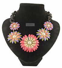 Black Chunky Floral Flower Wild Pearl Pink Green Blue Necklace