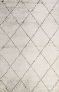 IVORY Modern Trellis Turkish Oriental Area Rug Contemporary Geometric Carpet 5x7