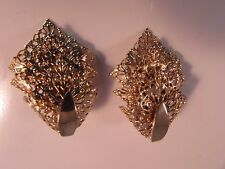 Filigree Chantilly Lace Clip On Vintage Sarah Coventry Earrings Gold Tone