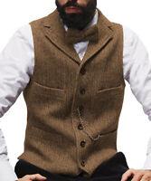 Men's Waistcoat Suit Lapel Vest Herringbone Tweed Wool Vintage Business Formal++