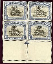 K.U.T. 1941 KGVI 70c on 1s CRESCENT MOON FLAW block superb MNH. SG 154, 154a.