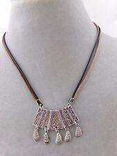 Silver Bar Shell Charm Dangles Necklace Fashion Jewelry NEW Brown Black Cords