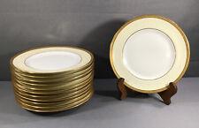 "Set 12 FINE PL Limoges M Redon Gilt 9 5/8"" Dinner Plates"