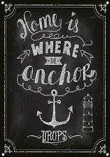 """Home Is Where The Anchor Drops"" Metal Sign, Enamel, No.666"
