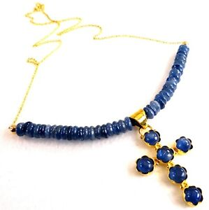 """JFTS, Blue, Kyanite, Bead, Necklace, Pendant, Gift Mom, Gift Wife, 17 13/4"""""""