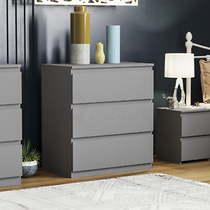 SALE Modern Grey 3 Drawer Chest of Drawers Wardrobe Bedside Cabinet Small