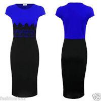 Ladies Womens  Plus Size Celebs Floral Lace Contrast Bodycon Pencil Midi Dress