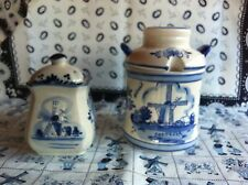 Dutch Delft Blue Porcelain Hand painted Sugar Bowl & Spice Pot