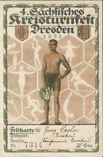 4. Sächs. Kreisturnfest Dresden 1921, Festkarte, Sportfest-Turnen-Verein Zwickau