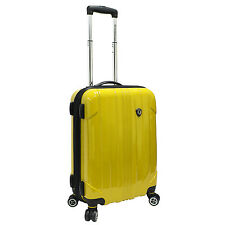 """Travelers Choice Yellow Sedona Polycarbonate 21"""" Carry-on Spinner Travel Luggage"""