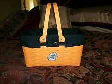 Longaberger Medium Market Basket FABRIC LINER ONLY -  BLACK - Elegant - Pls Read