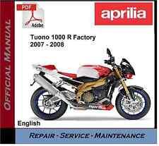 Aprilia Tuono 1000 R Factory 2007 - 2008 Workshop Service Repair Manual