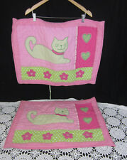 2 Company Kids Standard Quilted Pillow Shams Pink Green Gingham Cats